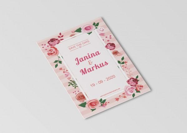 Save the Date Karten Einladung Hochzeit - Rosentraum