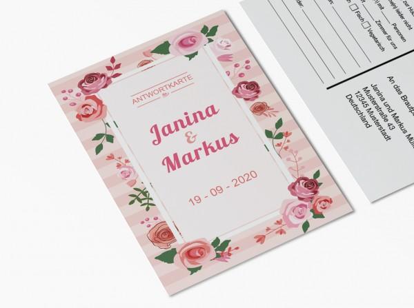 Antwortkarten für Einladung Hochzeit - Rosentraum