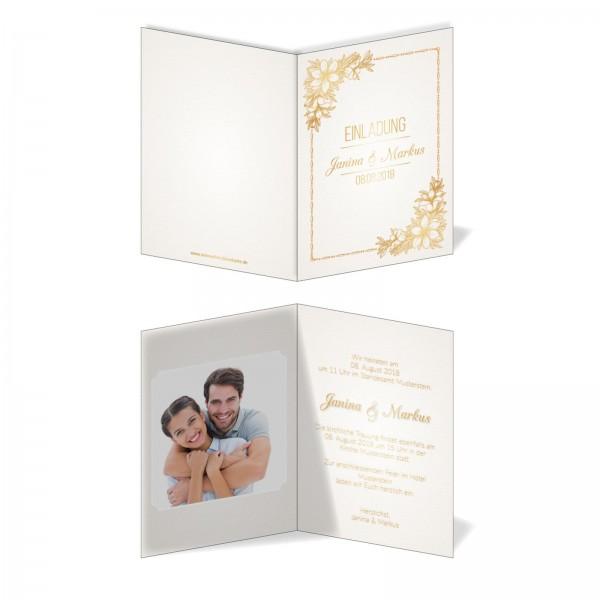 Einladungskarten Hochzeit Hochzeitskarten mit Druck - goldener Bund