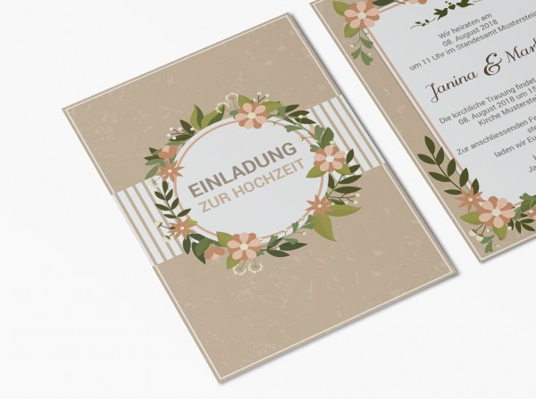 Einladungskarten Hochzeit Hochzeitskarten mit Druck - Blumenring