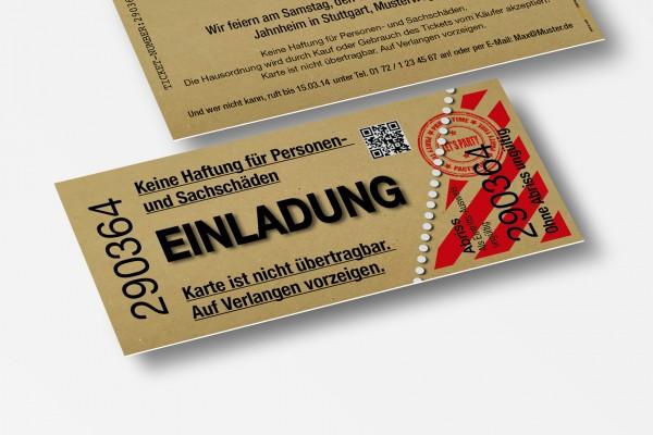 Einladung Einladungskarte lustig Geburtstag Kino beige