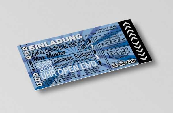 Einladung Einladungskarte lustig Geburtstag-Ticket Blau
