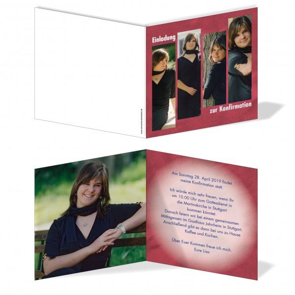 Einladung Einladungskarte Konfirmation Bildertanz Rot