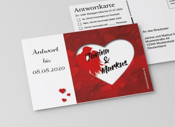Antwortkarten für Einladung Hochzeit - Rotes Herz