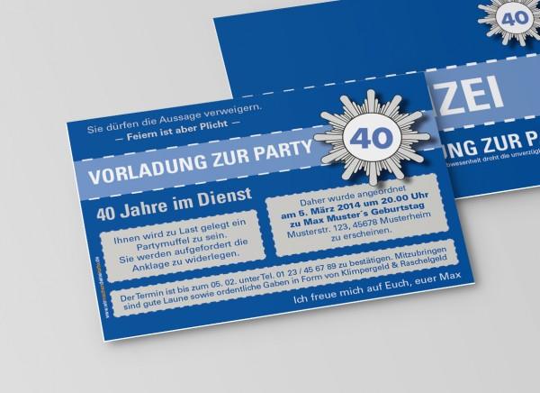 Einladungskarte lustig Geburtstag Vorladung Polizei DIN A6 quer 2-seitig