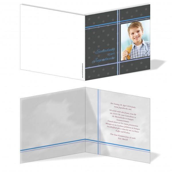 Einladung Einladungskarte Jugendweihe Bilder Kreuz Grau/Blau