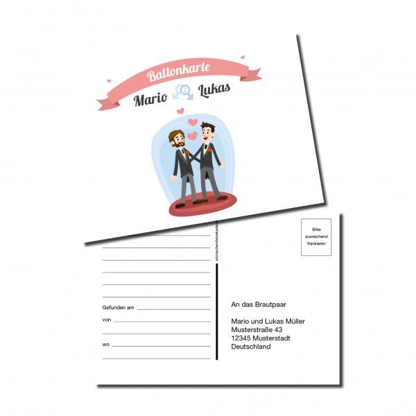 Ballonkarten Luftballon Karten Hochzeit - Mann & Mann