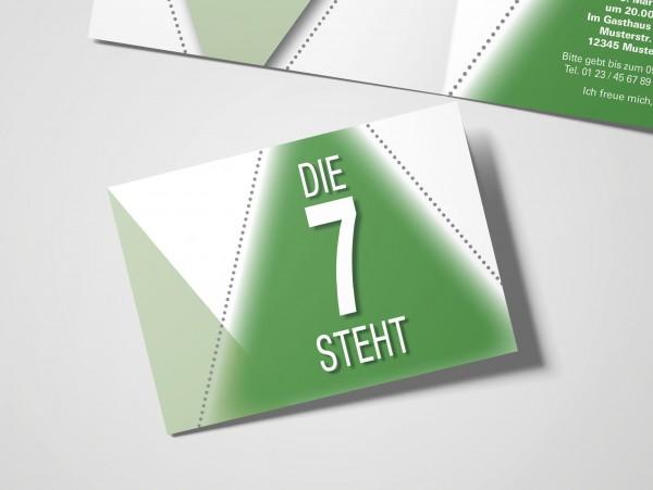 Einladung Einladungskarte Firmung Bildertanz Blau/Grün