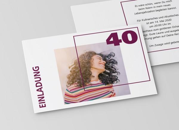 Einladungskarte zum 40. Geburtstag Quader Gitter Lila