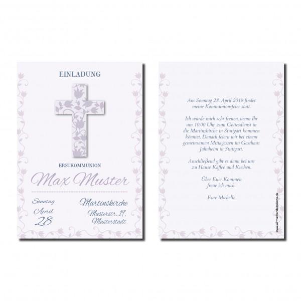 Einladung Einladungskarte Kommunion Blumen Kreuz