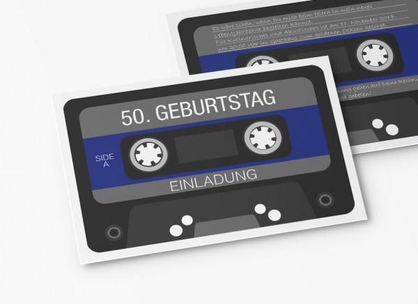 Einladungskarten 50. Geburtstag Retro Kassette