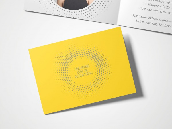 Einladungskarten 30. Geburtstag Kreisrund gelb