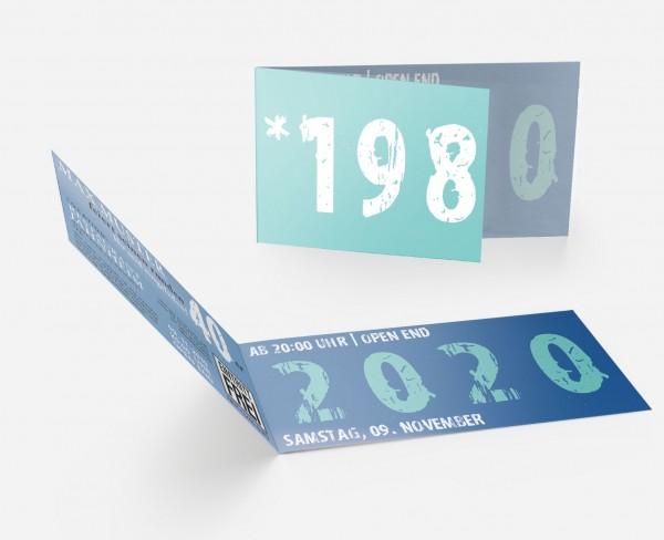 Geburtstag Einladungskarten -  40. Geburtstag Zeitsprung Türkis Blau