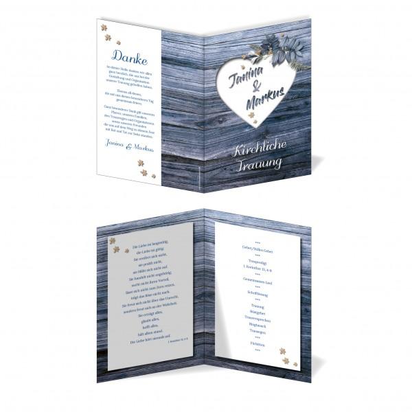 Kirchenprogramm Hochzeit - Rustikale Holz-Optik blau