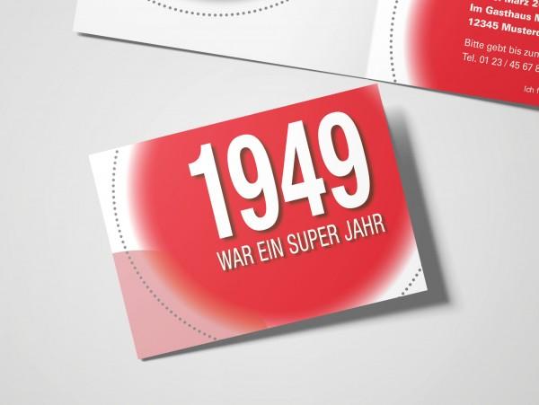 Geburtstag Einladungskarten - 70. Geburtstag Super Jahr Rot