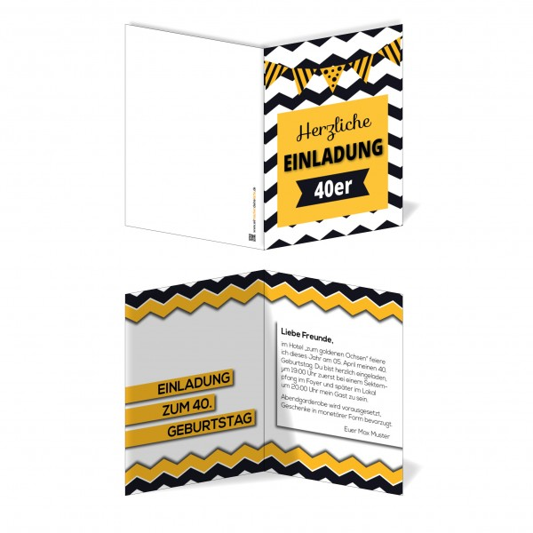 Einladung Einladungskarte Geburtstag Crazy Stripes