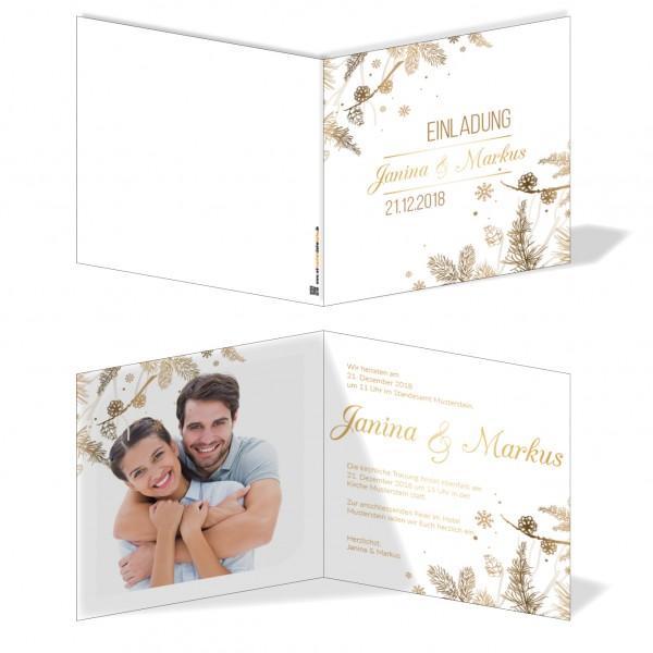 Einladungskarten Hochzeit Hochzeitskarten mit Druck - Winterhochzeit