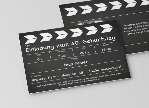 Einladung Einladungskarte lustig Geburtstag Filmklappe