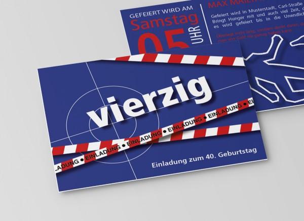 Einladung Einladungskarte lustig Geburtstag Tatort