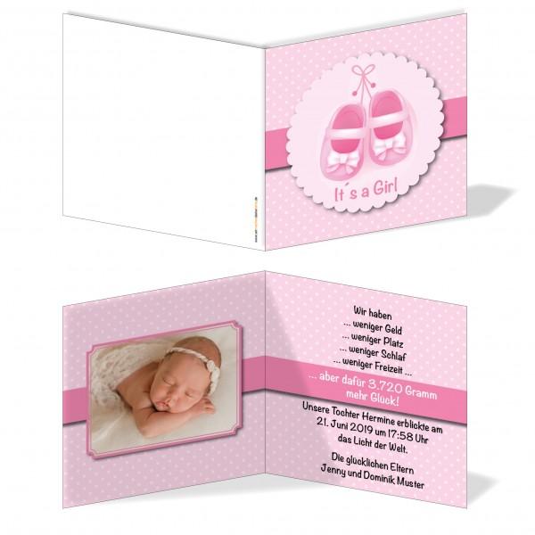 Geburtskarten Babykarten individuell - Mädchen rosa Schuhe