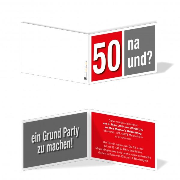 Geburtstag Einladungskarten - 50. Geburtstag Na und? Rot