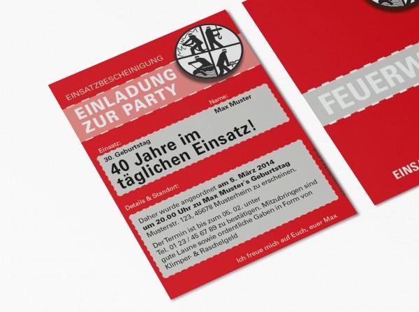 Feuerwehr Einladung Einladungskarte lustig Geburtstag DIN A6 hoch 2-seitig