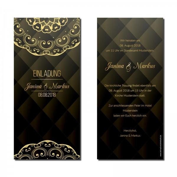 Einladungskarten Hochzeit Hochzeitskarten mit Druck - Black&Gold