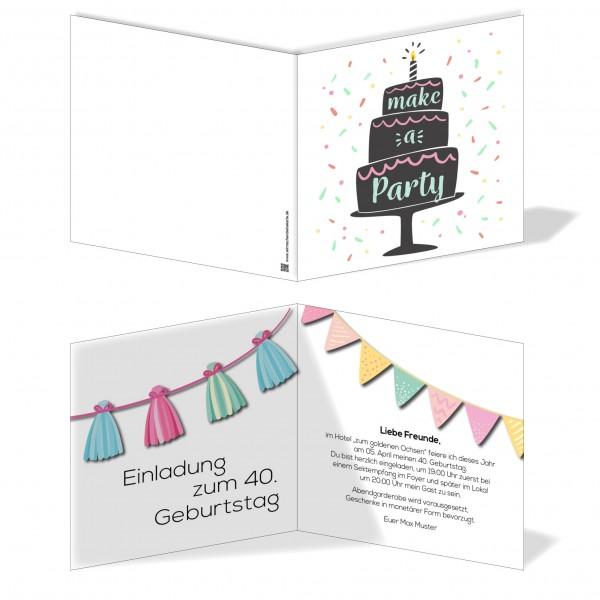 Einladung Einladungskarte Geburtstag Torte