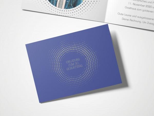 Einladungskarten 30. Geburtstag Kreisrund blau