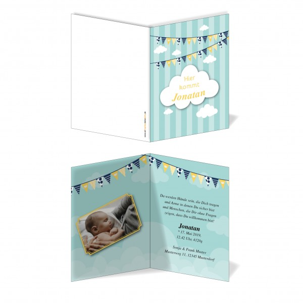 Geburtskarten Babykarten individuell - Junge Wolke